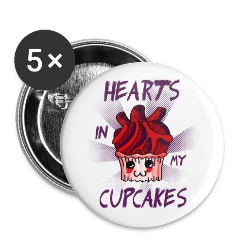 Hearts in my Cupcakes light - Buttons large 2.2''/56 mm(5-pack)