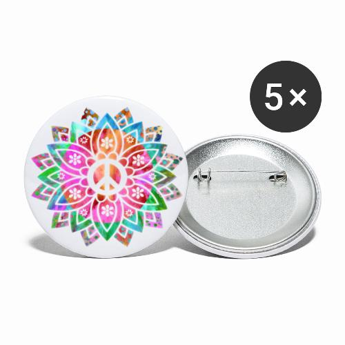 Peace Flower - Buttons large 2.2''/56 mm(5-pack)
