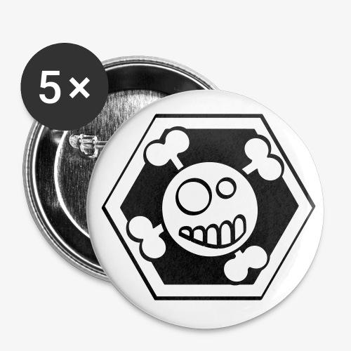 skull a - Lot de 5 grands badges (56 mm)
