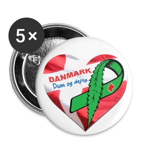 Danmark dum og dejlig - Buttons/Badges stor, 56 mm (5-pack)