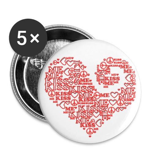 kiss me peace - heart - Buttons groß 56 mm (5er Pack)