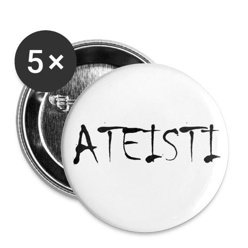 Ateisti - T-paita (valkoinen,etupainatus) - Rintamerkit isot 56 mm (5kpl pakkauksessa)