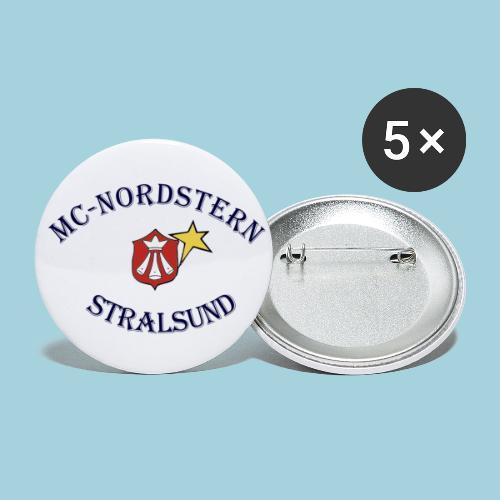 MC Nordstern Schrift gebogen - Buttons groß 56 mm (5er Pack)