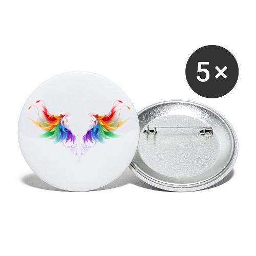 Ailes d'Archanges aux belles couleurs vives - Lot de 5 grands badges (56 mm)