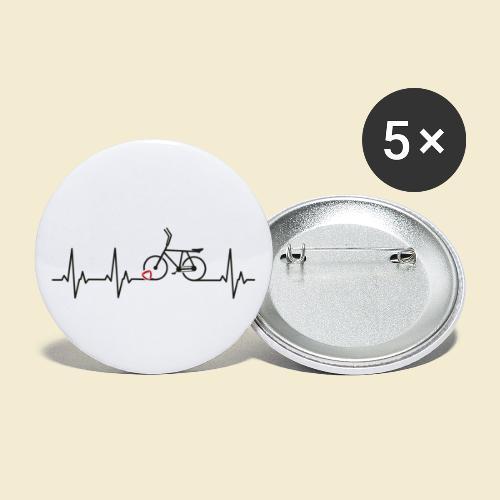 Radball   Heart Monitor Black - Buttons groß 56 mm (5er Pack)