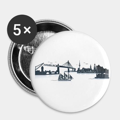 Hamburg Skyline - Buttons groß 56 mm (5er Pack)