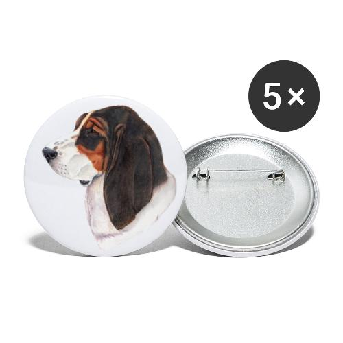 bassethound color - Buttons/Badges stor, 56 mm (5-pack)