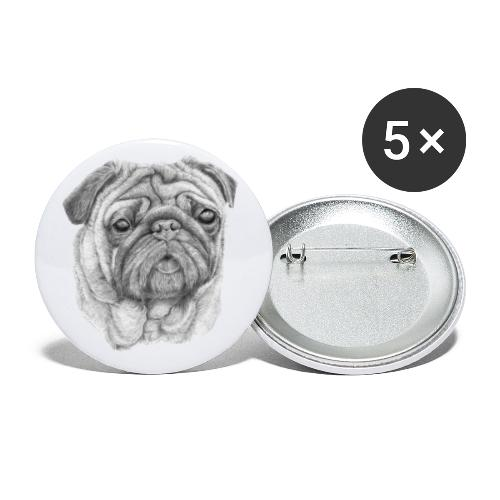 Pug - mops 1 - Buttons/Badges stor, 56 mm (5-pack)