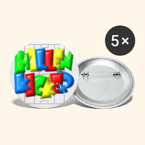 Hallenkicker im Fußballfeld - Balloon-Style - Buttons groß 56 mm (5er Pack)