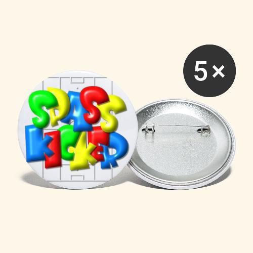 Spass Kicker im Fußballfeld - Balloon-Style - Buttons groß 56 mm (5er Pack)