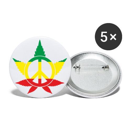 Peace färbig - Buttons groß 56 mm (5er Pack)