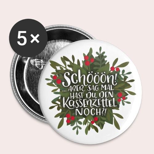 Weihnachtsgeschenke vs. Kassenzettel - Buttons groß 56 mm (5er Pack)