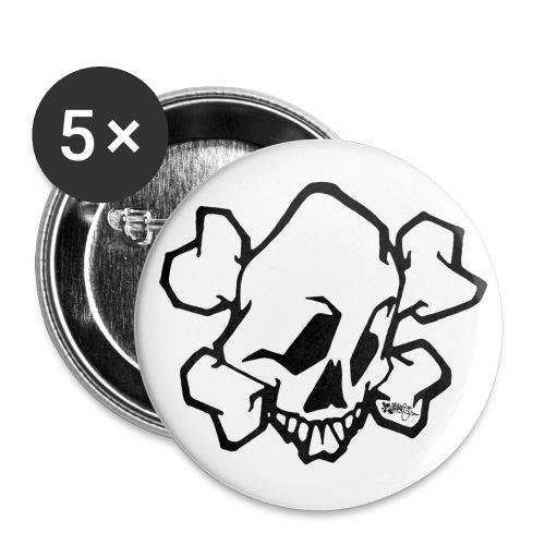 √ skull white ver01 fresh 86 - Buttons/Badges stor, 56 mm (5-pack)
