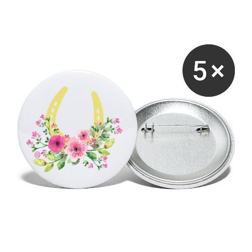 Blumen Hufeisen - Reitbekleidung - Buttons groß 56 mm (5er Pack)