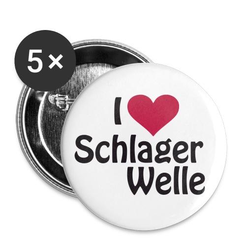I love Schlagerwelle - Logo in Schwarz - Buttons groß 56 mm (5er Pack)