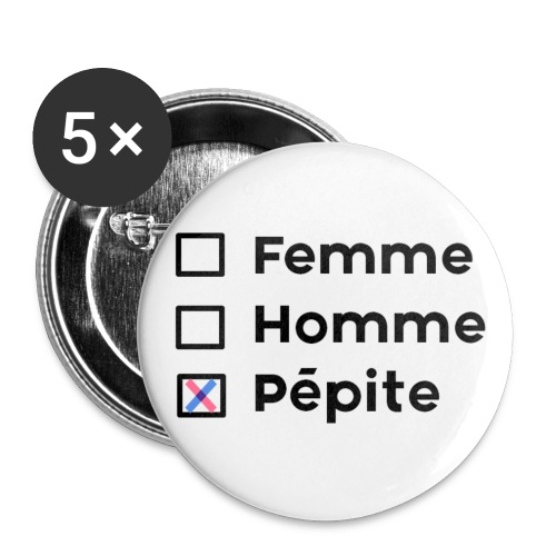 Femme-Homme-Pépite - Lot de 5 grands badges (56 mm)
