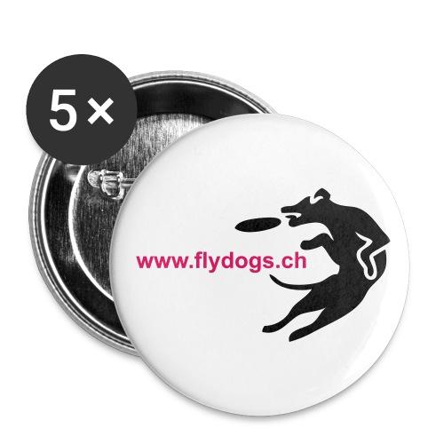 flydogslogo - Buttons groß 56 mm (5er Pack)