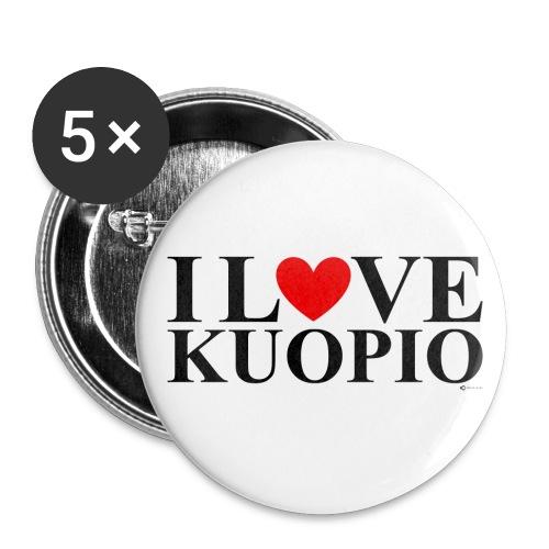 I LOVE KUOPIO (koko teksti, musta) - Rintamerkit isot 56 mm (5kpl pakkauksessa)