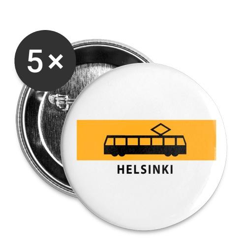RATIKKA PYSÄKKI HELSINKI T-paidat ja lahjatuotteet - Rintamerkit isot 56 mm (5kpl pakkauksessa)