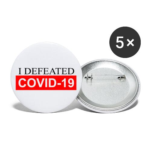 I defeated covid 19 - Buttons/Badges stor, 56 mm (5-pack)