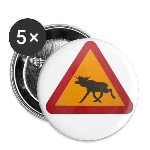 Warnschild Elch - Buttons groß 56 mm (5er Pack)
