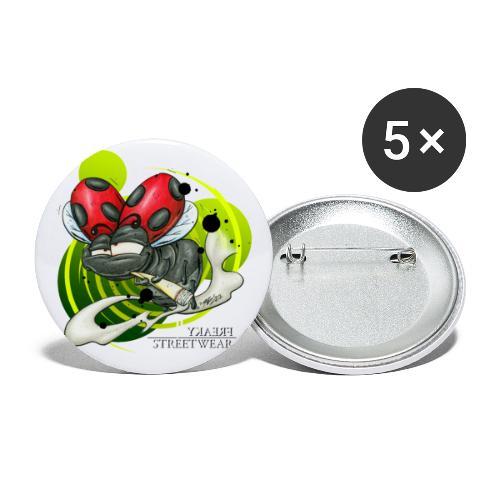 Marienkiffer - Buttons groß 56 mm (5er Pack)