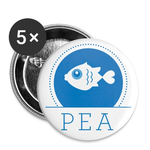 pea logo poissons big - Lot de 5 grands badges (56 mm)