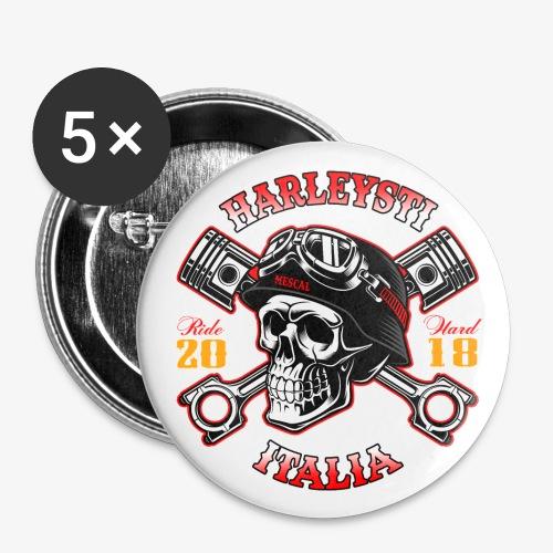 Harleysti Italia - Teschio e pistoni - Ride Hard - Confezione da 5 spille grandi (56 mm)