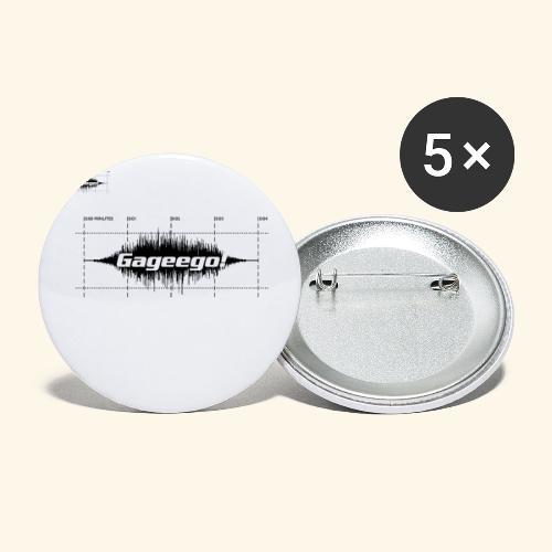 Gageego logga vit text - Stora knappar 56 mm (5-pack)