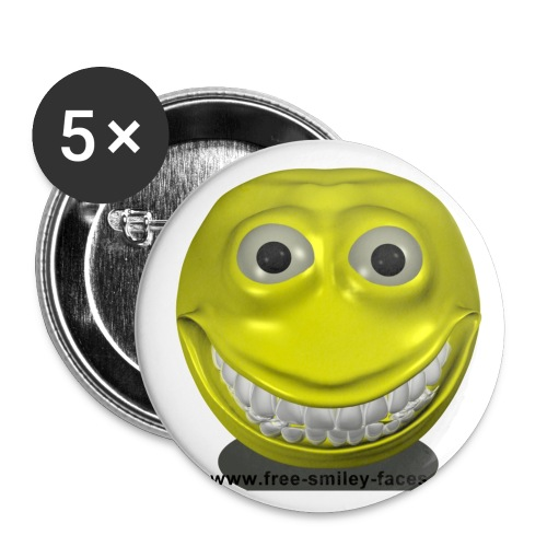 www free faces de animated laughing smiley 07 - Buttons groß 56 mm (5er Pack)