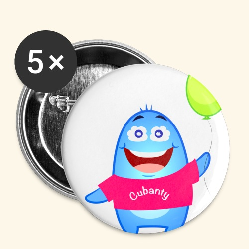 Cubanty mit Ballon - Buttons groß 56 mm (5er Pack)