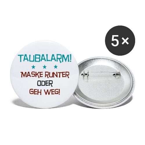 Taubalarm - Buttons groß 56 mm (5er Pack)