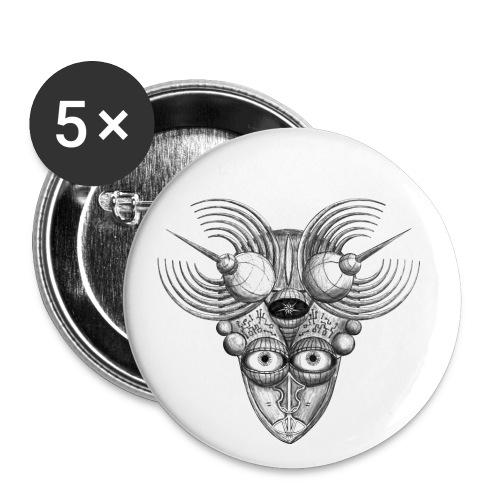 Androidenmaske 'Telepath' - Buttons groß 56 mm (5er Pack)