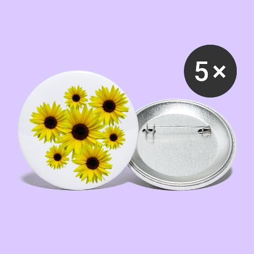 Sonnenblumenstrauß, Sonnenblumen, Blumen, Blüten - Buttons groß 56 mm (5er Pack)