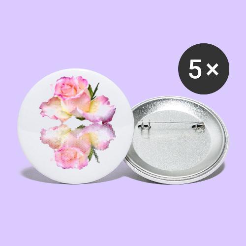 pinke Rose mit Regentropfen im Spiegel, rosa Rosen - Buttons groß 56 mm (5er Pack)