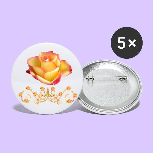 orange Rose, Ornament, Rosen, Blumen, Blüten, edel - Buttons groß 56 mm (5er Pack)