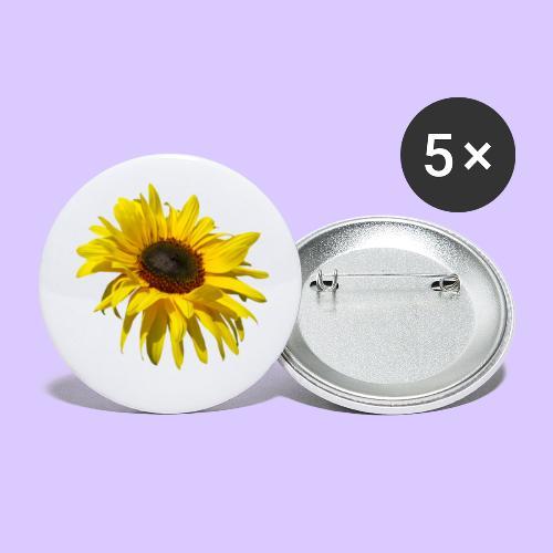 blühende Sonnenblume, Sonnenblumen, Blumen, Blüten - Buttons groß 56 mm (5er Pack)