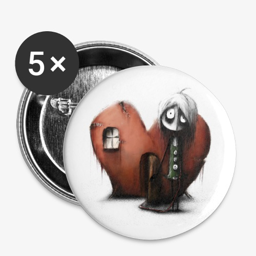 empty heart - Buttons groß 56 mm (5er Pack)