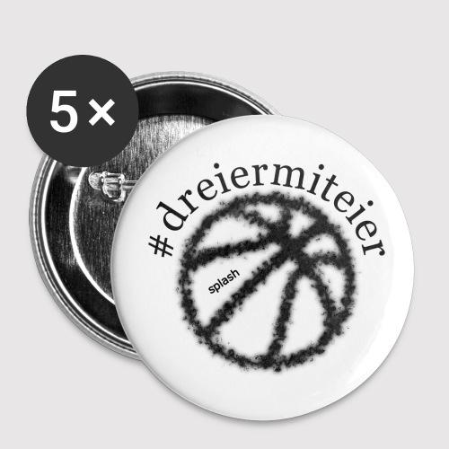 dreiermiteier schwarz - Buttons groß 56 mm (5er Pack)