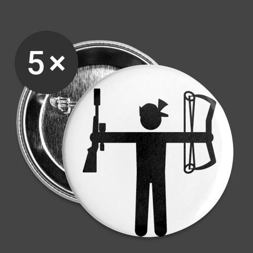 Universaljäger Schwarz - Buttons groß 56 mm (5er Pack)