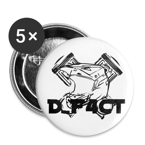 D_F4CT Logo Zwart - Buttons groot 56 mm (5-pack)