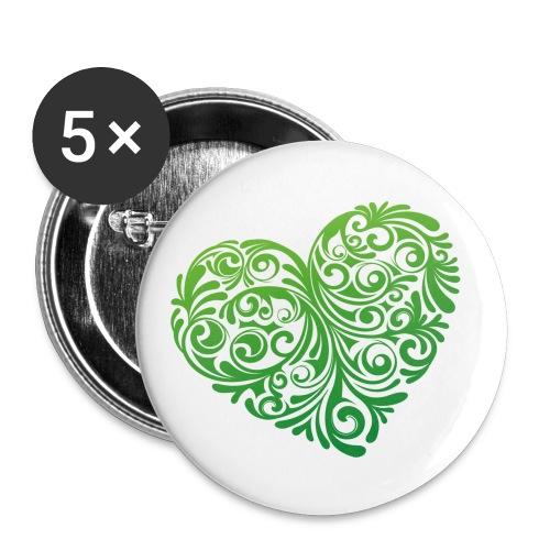 floral heartlogo png - Buttons groß 56 mm (5er Pack)
