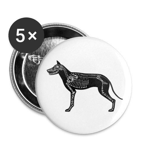 Dog skeleton - Buttons groot 56 mm (5-pack)
