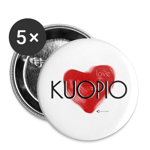 Love Kuopio teksti keskellä - Rintamerkit isot 56 mm (5kpl pakkauksessa)