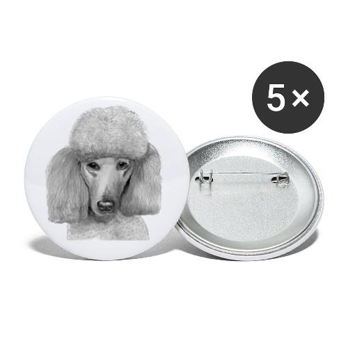 storpudel - standardpoodle abricot - Buttons/Badges stor, 56 mm (5-pack)