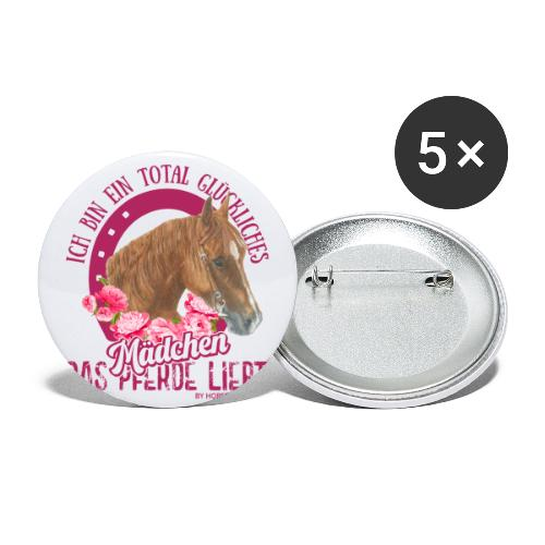 Glückliches Pferdemädchen - Buttons groß 56 mm (5er Pack)