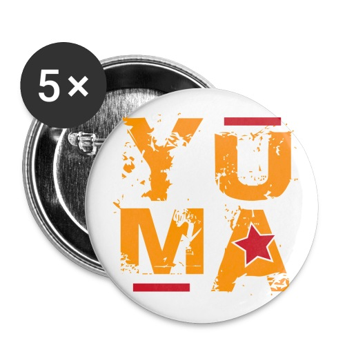 yuma orange rouge - Lot de 5 grands badges (56 mm)