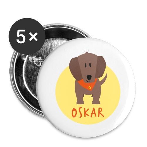 Dackel Oskar von Dachshausen - Buttons groß 56 mm (5er Pack)