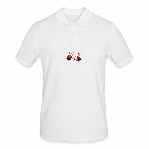 No Touchies 2 Bloody Hands Behind Black Text - Men's Polo Shirt