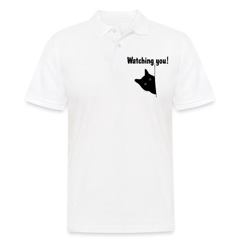 Black cat is watching you! - Männer Poloshirt